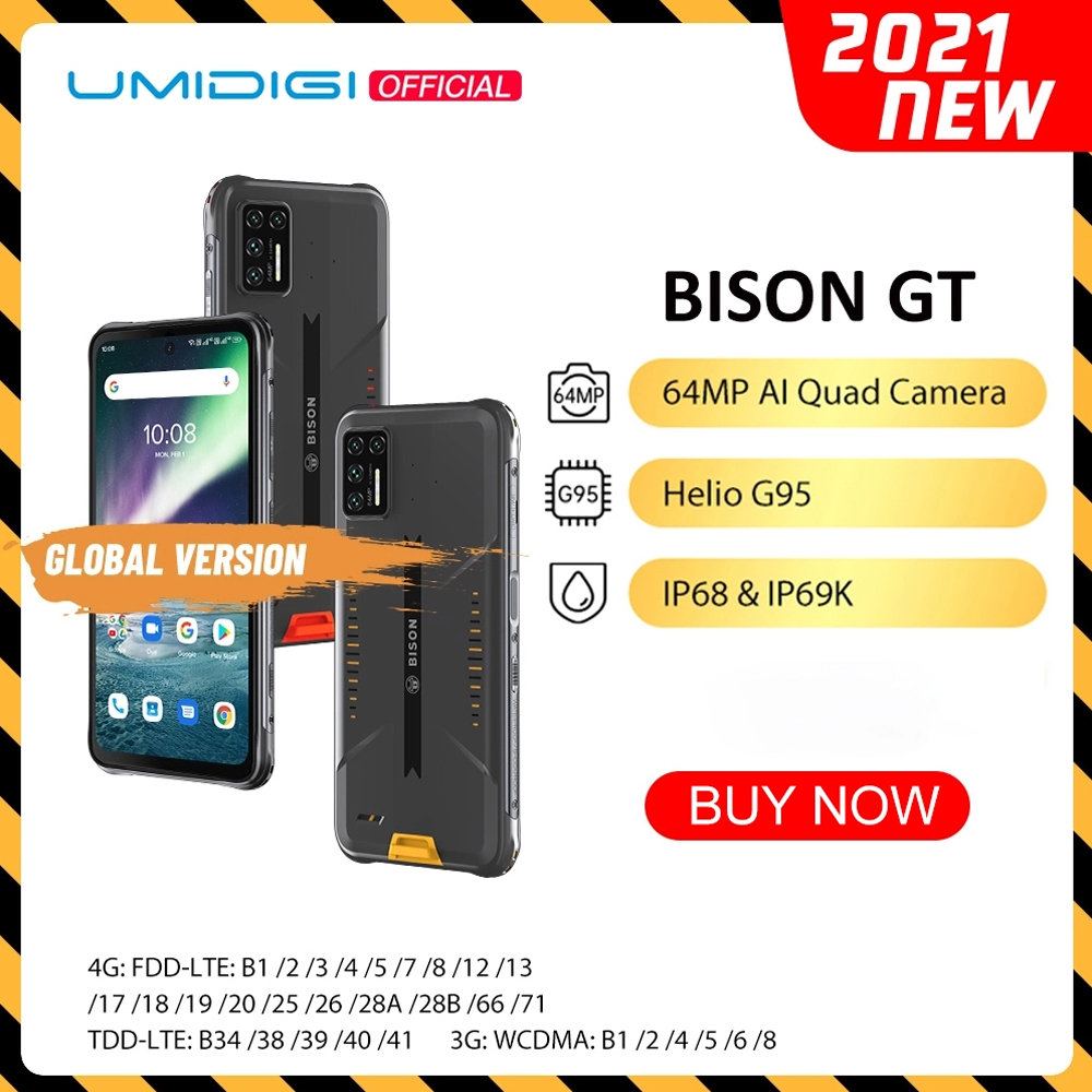Umidigi bison gt impermeável ip68/ip69k helio g95 áspero telefone 64mp ai quad camera 8gb + 128gb 6.67