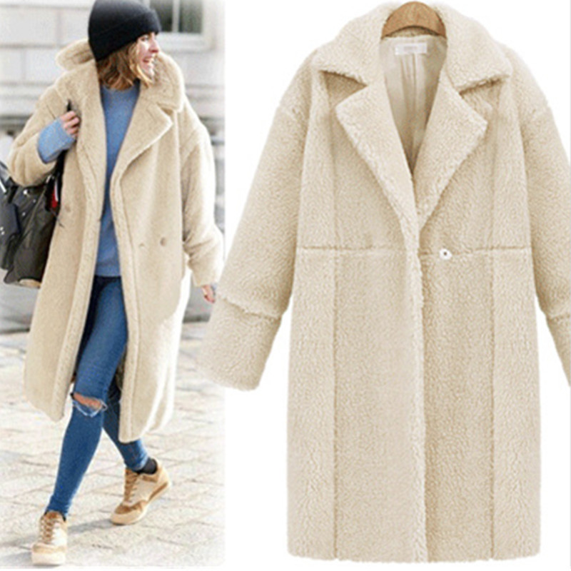 2019 autumn and winter new women's cotton jacket cashmere long-sleeved solid color long coat wool coat