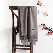Сплошной цвет, имитация кашемира, шарф для женщин, теплый шарф Джокера