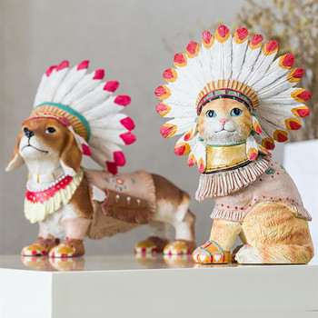 American Modern Creative Simulation Inuit Cat Art Sculpture Animals Statue Resin Crafts Decorations For Home R3522