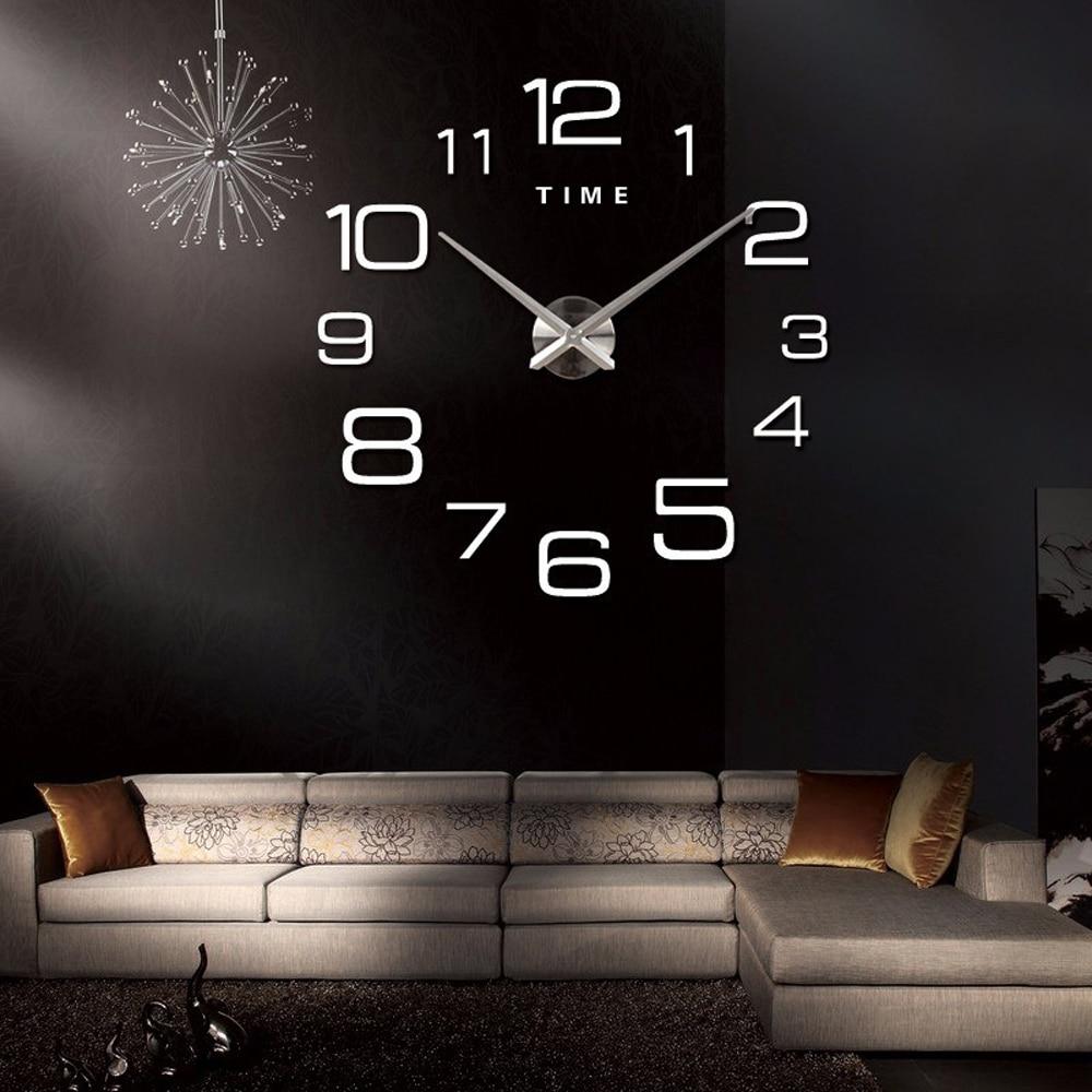Digital Large Wall Clock Modern Design Silent Acrylic Self adhesive Big DIY 3D Wall Clock Sticker for Living Room Decor|Wall Clocks| |  - title=