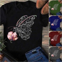 Women 2020 Casual Summer T Shirt Clothes Butterfly Flower Artistic Tshirts Ladie