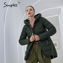 Simplee 2020 nouveau à capuche femmes hiver parkas élégant Long chaud coton manteau femme marque de mode veste femme manteau vert foncé