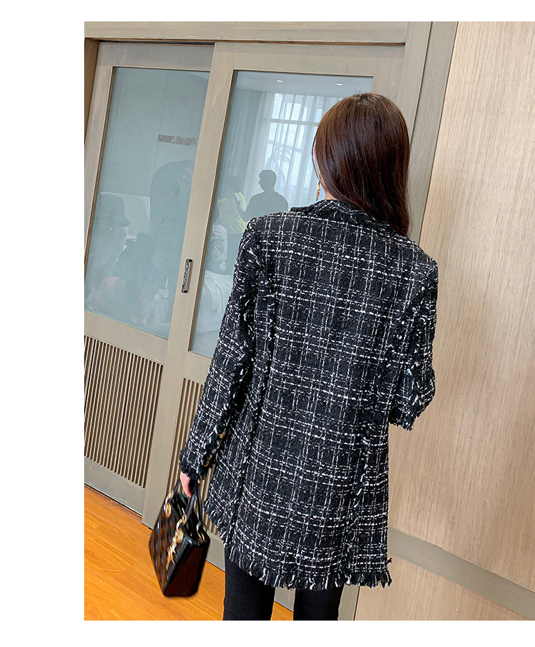 2020 Autumn Winter Tweed Jacket Coat Women's Black Long Sleeve Plaid Harajuku Woolen Elegant Runway Overcoat Korea Style Jackets