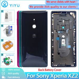 Original Glass Housing For Sony Xperia XZ2 Back Battery Cover Rear Door case With Camera Lens+Middle frame Repair parts