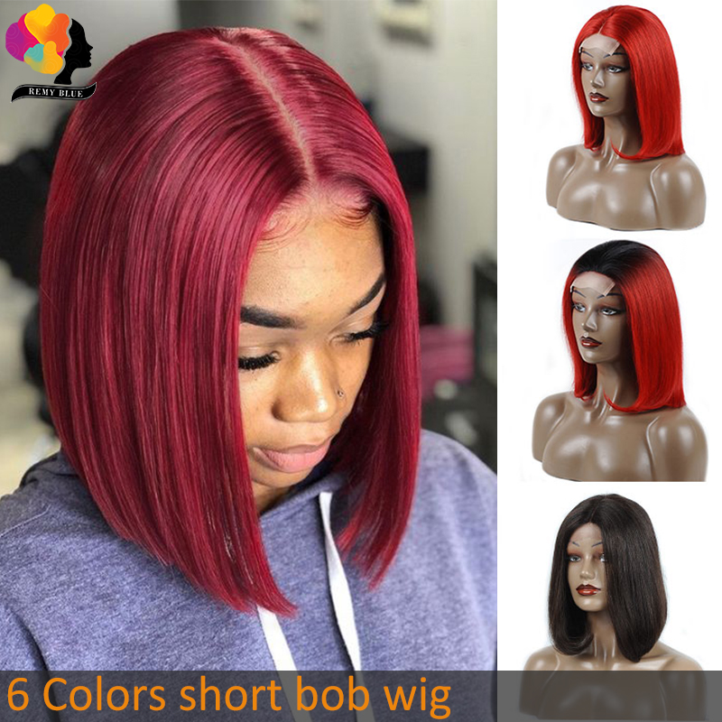 Remyblue Short Bob Lace Front Wigs 1B/Red Burgundy Straight Lace Front Human Hair Wigs Black Women Ombre Peruvian Remy Hair Wigs