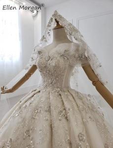 Image 4 - יוקרה גבישי תחרה כדור שמלות חתונה שמלות לנשים הסעודית נסיכה אלגנטית כבוי כתף שמלות כלה 2020