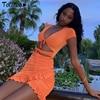 Totatoop Lace Up V Neck Ruched Bodycon Mini Dress Women 2020 Summer Hollow Out Ruffles Sundress Beachwear Vestidos 1