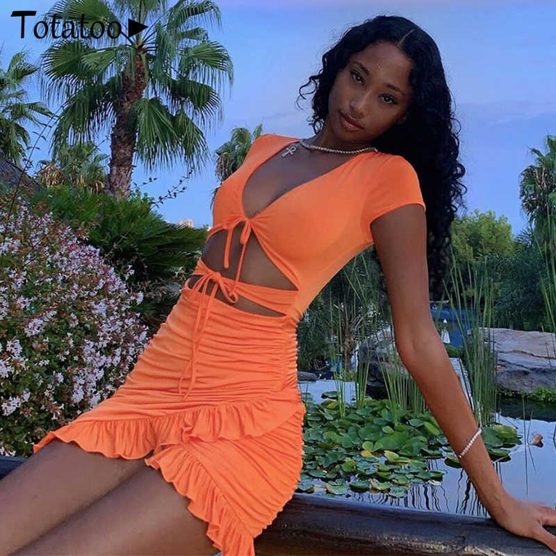 Totatoop Lace Up VคอRuched Bodyconมินิชุดสตรี 2020 ฤดูร้อนHollow OUT Ruffles Sundress Beachwear Vestidos