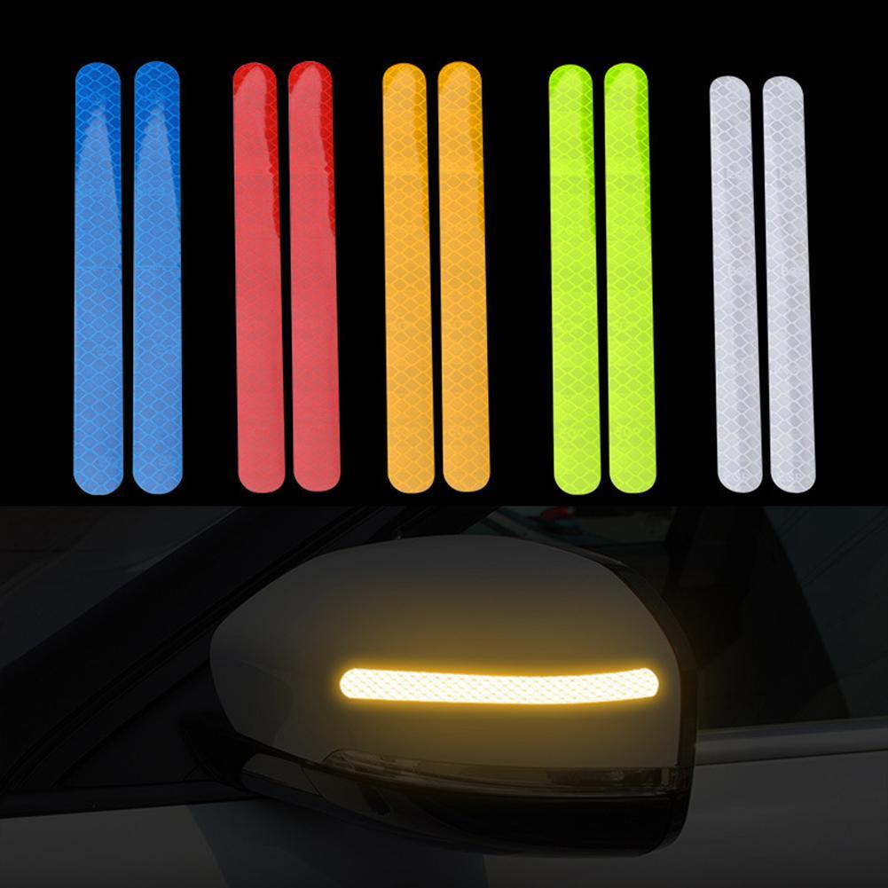 2 pçs fita luminosa de aviso pet luz de advertência refletor etiqueta protetora impermeável auto adesivo reflexivo do carro