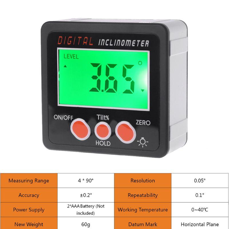 デジタル傾斜計電子分度器アルミ合金シェルベベルボックス角度計計測定ツール