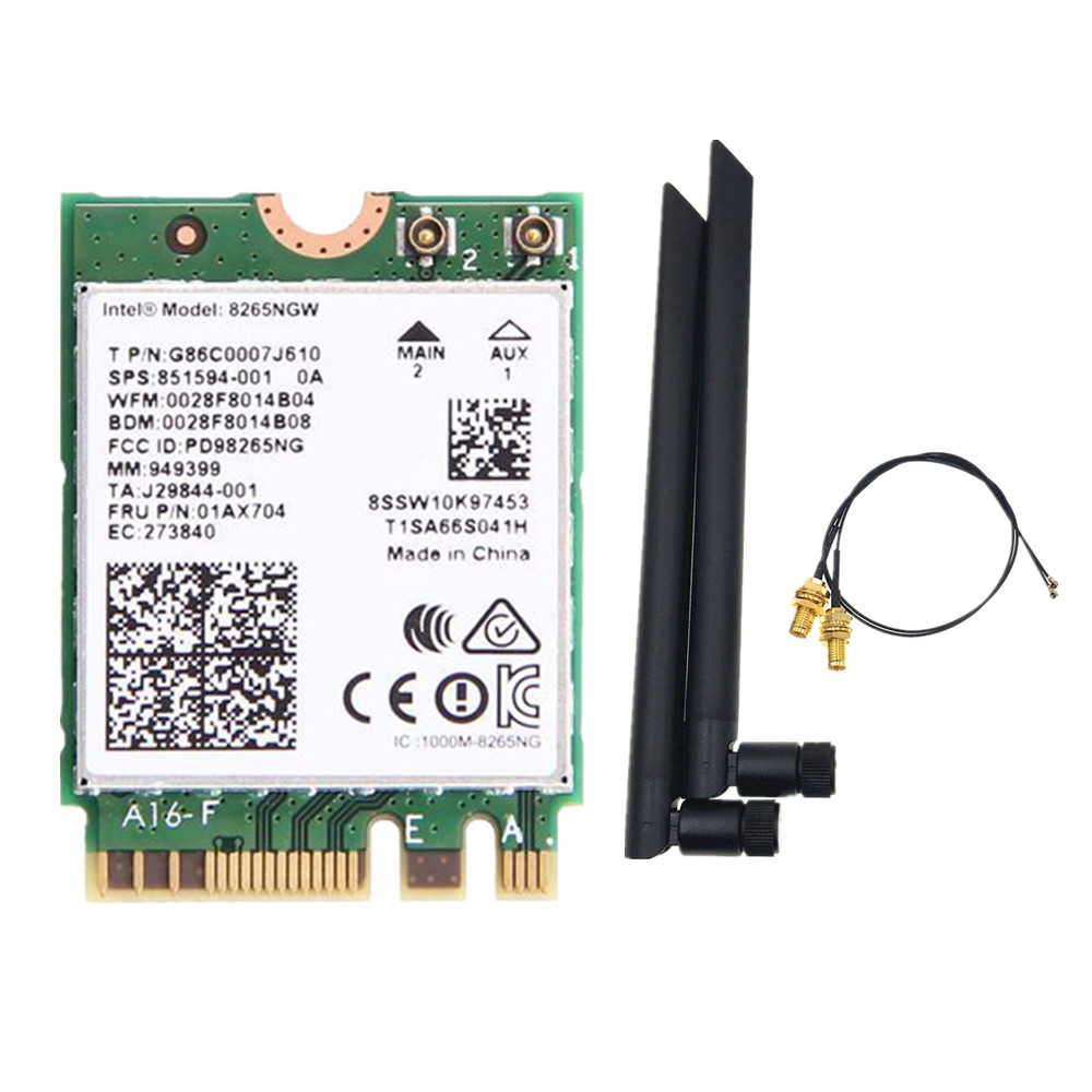 6dbi Dual Band 2.4G/5Ghz MHF4 Antennas Set + Intel 8265NGW Wireless-AC 8265 NGFF 802.11ac 867Mbps 2x2 MU-MIMO WIFI BT 4.2 Card