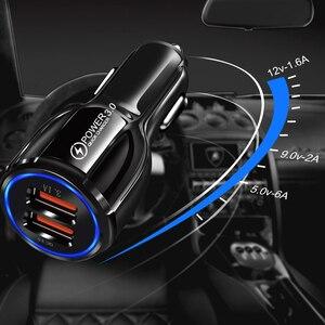 Image 4 - Araç şarj cihazı hızlı şarj 3.0 QC 3.0 hızlı şarj adaptörü çift USB araç şarj cihazı iphone mikro USB tipi C kablo telefon şarj cihazları