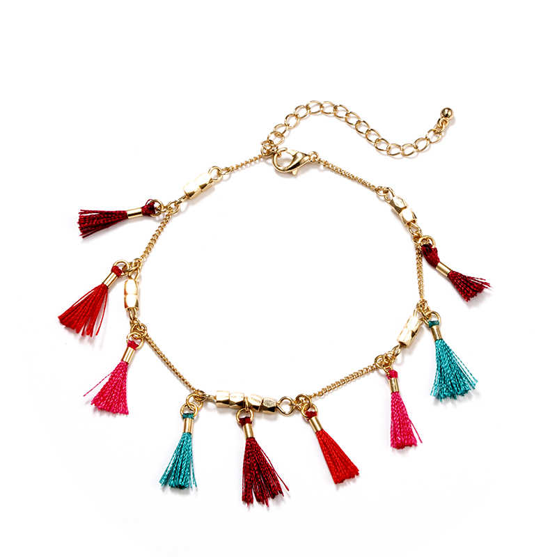 docona  Bohemian Gold Sequin Colorful Tassel Pendant Anklets for Women Adjustable Ankle Bracelet Set Jewelry Tobillera 3941