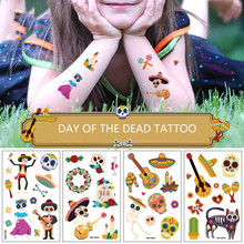 10pcs Set The Day of The Dead Temporary Tattoo Stickers  Kids Water Transfer Guitar Cacti Skull Body Hand Arm Face Decor
