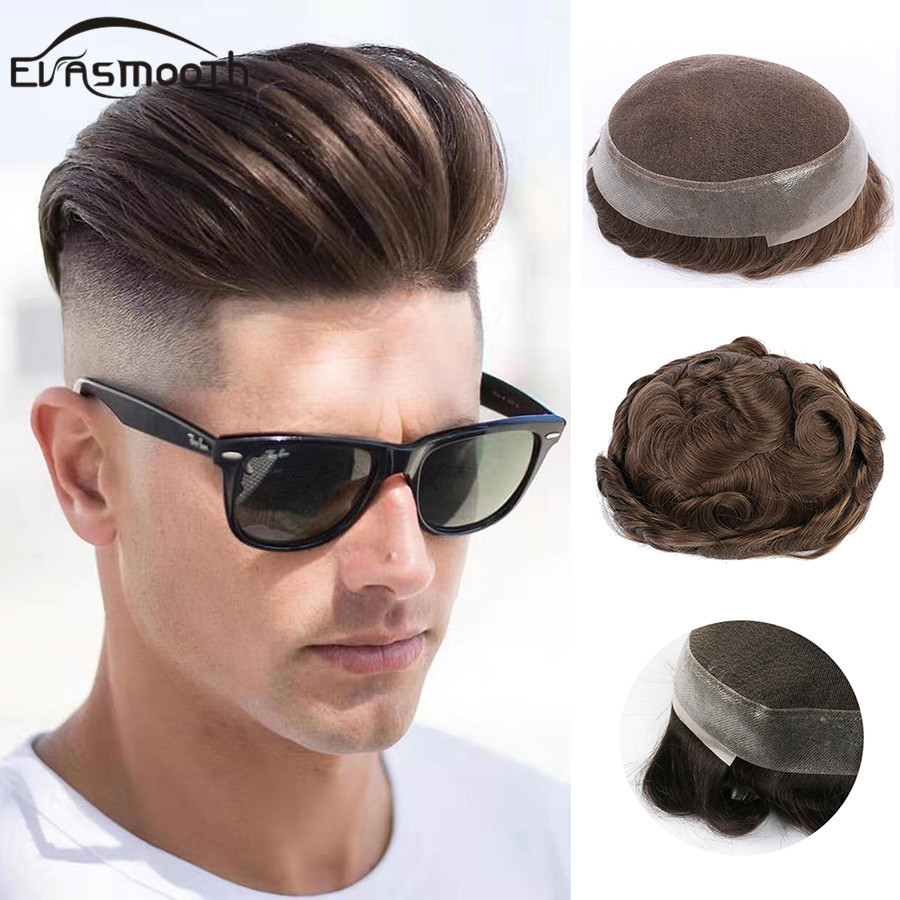 Men Human Hair Durable Replacement Systems Mono Lace Pu Wig Indian Remy Hair Toupee Mens Natural Human Wig Men Hairpieces