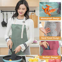 Women Aprons Waterproof Adjustable Neck Strap Absorbent Cooking Gardening BBQ Baking Sleeveless Kitchen Apron With Pocket