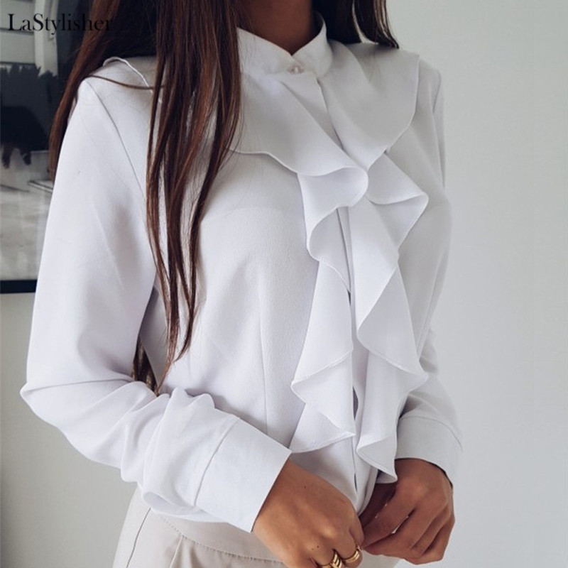 Ruffle Ladies Blouses Shirt White Black Elegant Office Blouse Sleeve Plus Size Womens Tops Clothing Feminine Blouse 2019 Autumn
