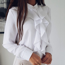 Ruffle Ladies Blouses Shirt White Black Elegant Office Blouse Sleeve Plus Size W