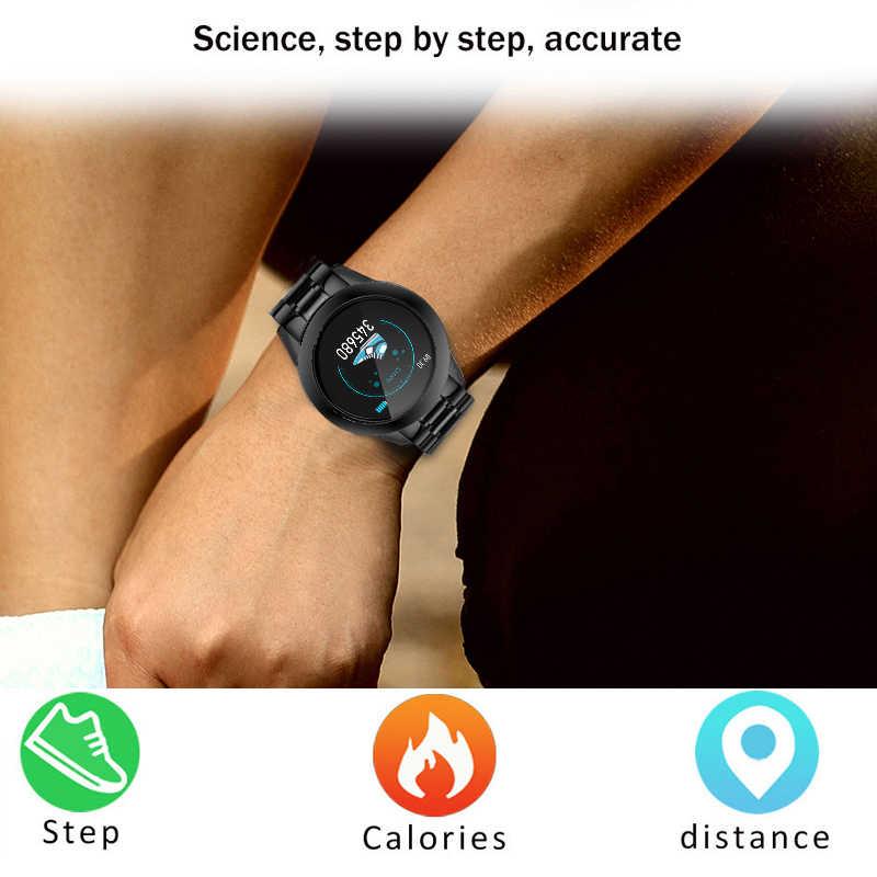 Luik Nieuwe Stalen Slimme Horloge Mannen Waterdichte Sport Voor Iphone Hartslag Bloeddruk Oproep Informatie Smartwatch Fitness Tracker