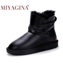 Winter Boots Lined Shearling Ankle Waterproof Women MIYAGINA Fur Short Crystal-Strap