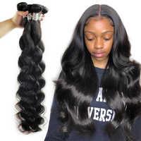 Fashow 28 30 32 34 36 40 pulgadas pelo indio de la onda del cuerpo extensiones de cabello humano 100% Color Natural Remy mechones de cabello humano postizo