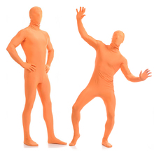 2017 Adult Full Body Spandex Lycra Zentai Suit Light Orange Tight Suits Pure Color Halloween Party Unitard