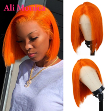 13x1 perucas alaranjadas do laço para o cabelo humano feminino 6 - 18 Polegada glueless cabelo brasileiro t parte curto bob peruca preplucked e descorado nó
