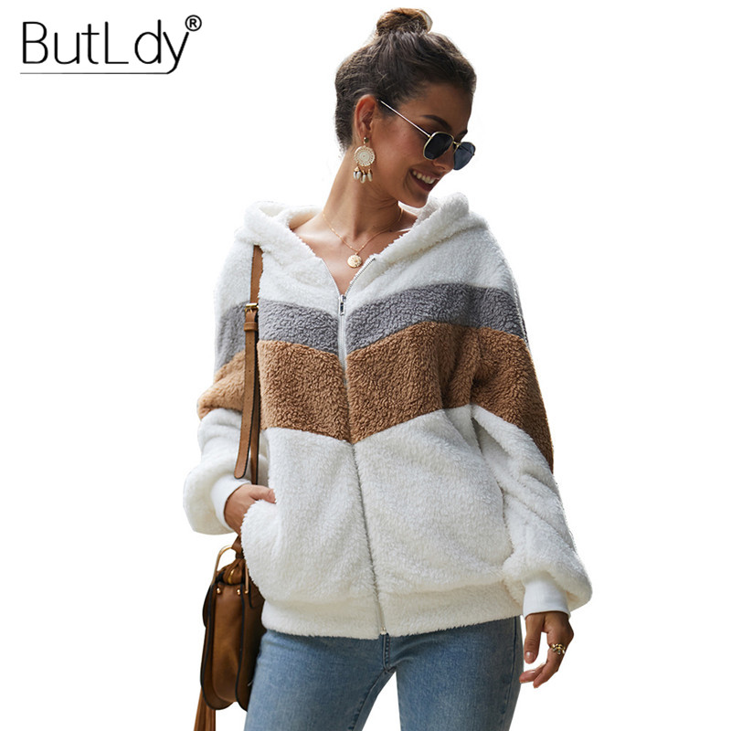 Stitching Zipper Hooded Short Coat Women Autumn Winter 2019 New Style V neck Wool Coat Thicken Pocket Long Sleeve Ladies Coats in Wool amp Blends from Women 39 s Clothing