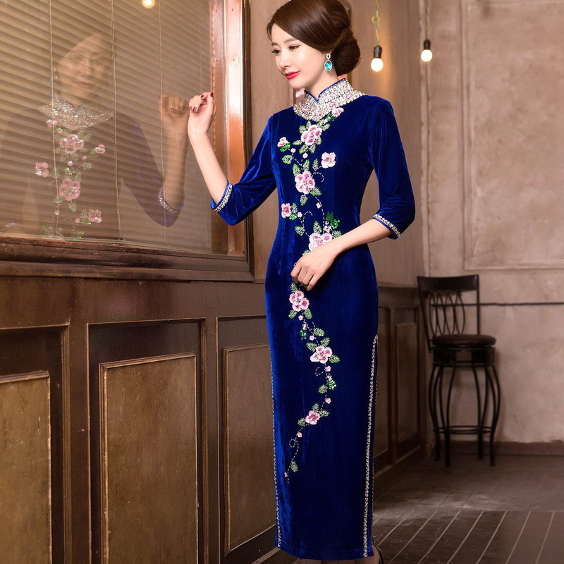 Cheongsam Elegant Traditional Costume High-end Printing Rust Satchel Hip Skirt Wholesale Pearl Cultivate Morality