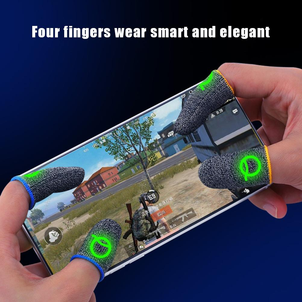 2Pcs Breathable Game Control Finger Cover Sweat Proof Non-Scratch Touch Screen Gaming Finger Thumb Sleeve Gloves