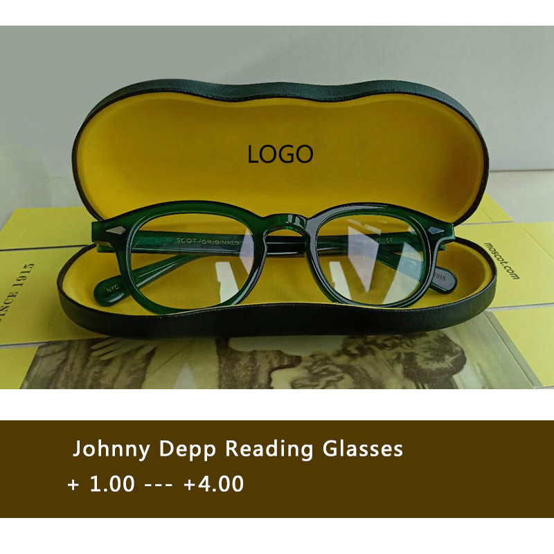 Johnny Depp Reading Glasses Men Woman Brand design Green Computer Presbyopic Eyeglasses +1.0 +1.5 +2.0 +2.5 +3.0 +3.5 +4.0 box