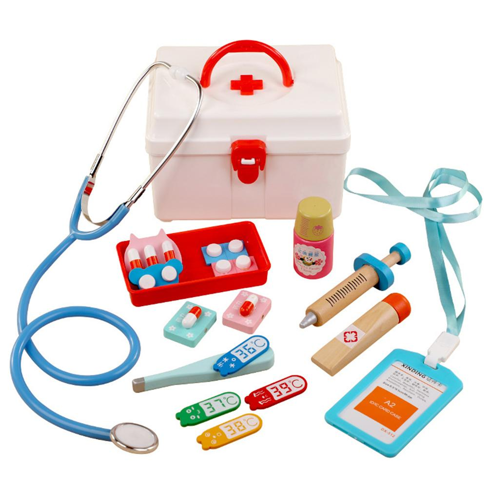 13Pcs/Set Wooden Pretend Play Doctor Medical Kit Tools Kids Educational Toys For Children Gift