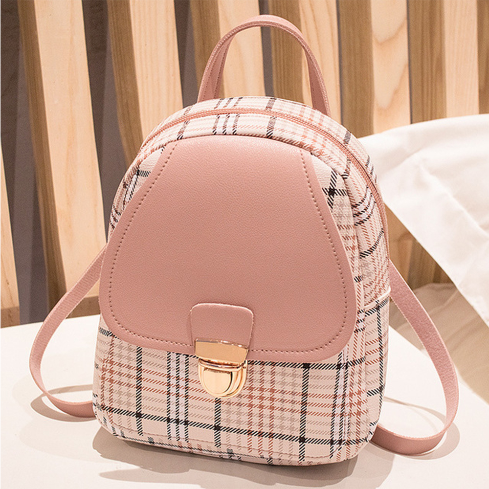 Mini Backpack Crossbody Bag For Teenage Girls Plaid Women Shoulder Phone Purse Korean Style New Trendy Female Bagpack For Lady