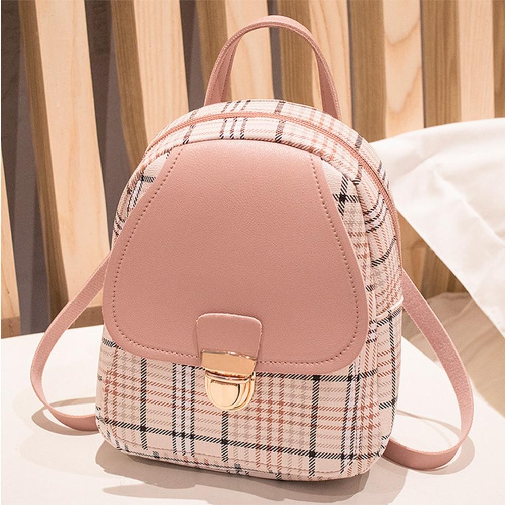 Mini Backpack Crossbody Bag For Teenage Girls Plaid Women Shoulder Phone Purse Korean Style New Trendy Female Bagpack For Lady