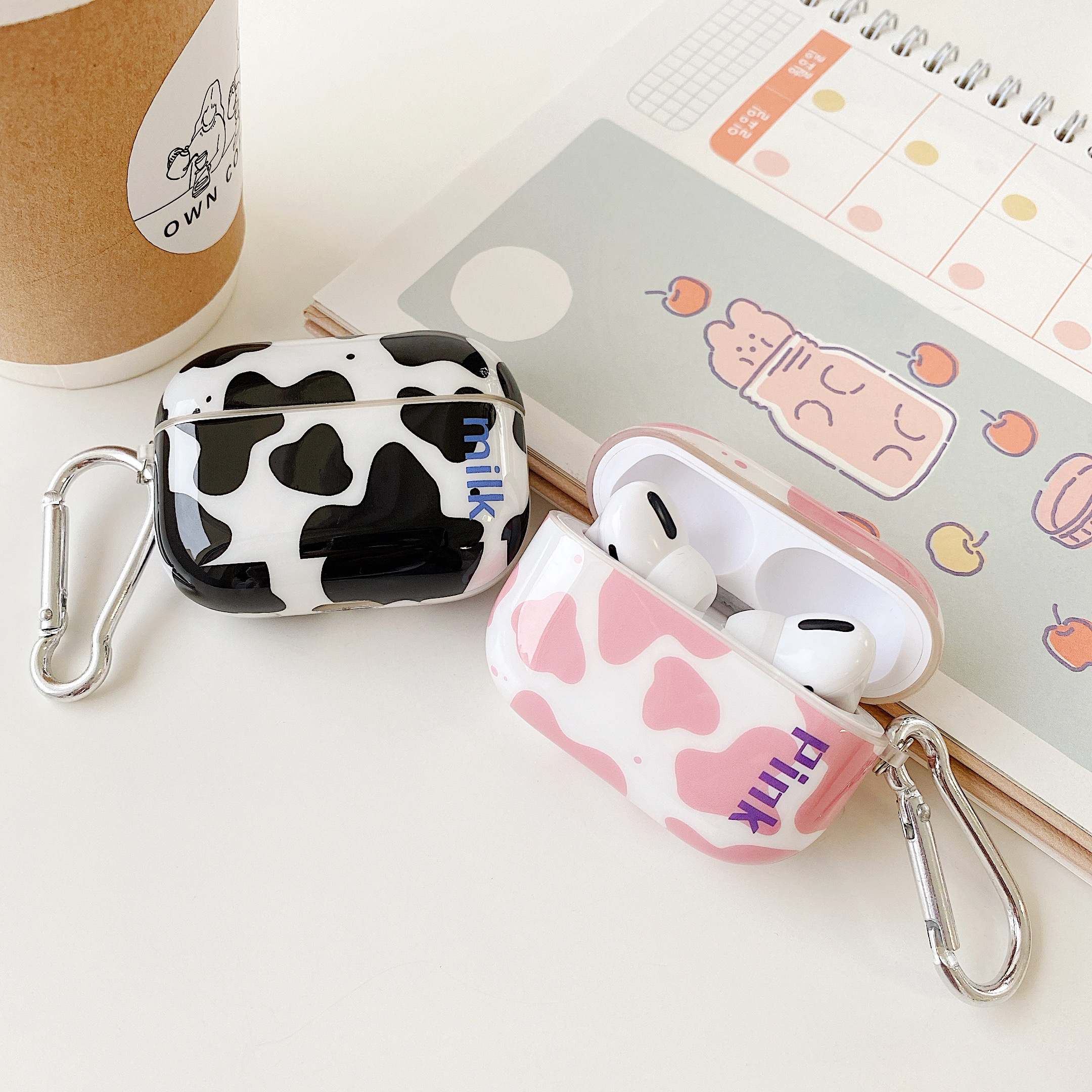 Cute Cow Printed Case For Airpods Pro Cover Silicone Soft TPU Protection Lovely Pouch Bags For Air Pods 2 Pro Cases With Hook