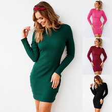 Hot Selling Long Sleeve Tie Back Backless Ladies Dresses New Design Ribbed Bodycon Club Dress
