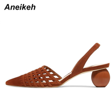 Aneikeh 2020 Summer Gladiator Sexy Round Med Heel Sandals