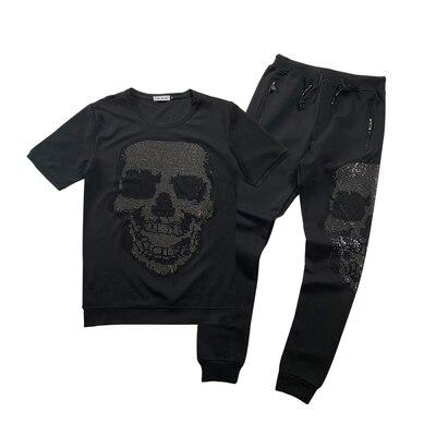 Freeship mens set rhinestone beading fashion bling sweatshirts/short sleeve T shirt with pants/elastic waist show/club/top - 2