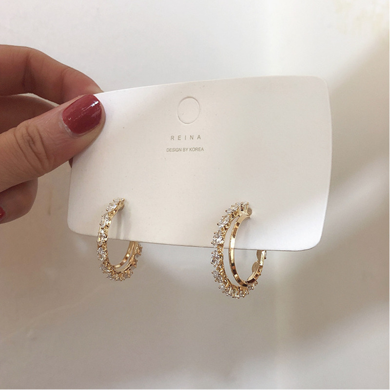 Hot Zircon Earrings Crystal Earrings Big Hoop Metal Earrings For Women Gift Fashion Jewelry Korean Hot Sell Wedding Jewelery