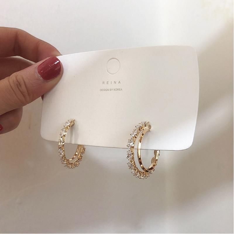 Hot Zircon Earrings Crystal Earrings Big Hoop Metal Earrings For Women Gift Fashion Jewelry Korean Hot Sell Wedding Jewelery