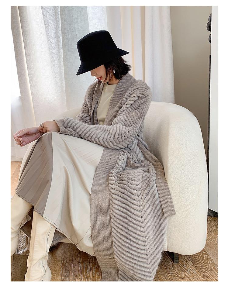 Hab29979581eb4ef598d9865af4f72d94E HDHOHR 2021 New High Quality Natural Mink Fur Coat Women With Belt Knitted Real MinkFur Jacket Fashion Warm Long For Female