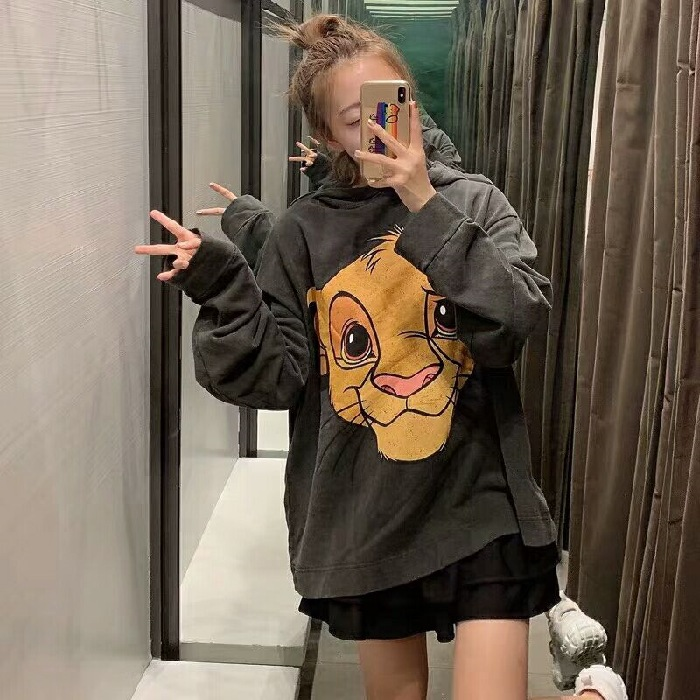 Autumn New Style Popular Brand Ozhouzhan Goods In Europe-Style Loose Version Cartoon Printed Lion King Simba Hoodie Fashion