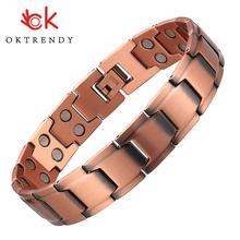Mężczyźni bransoletka biżuteria High Gauss 3000 skuteczna potężna magnetyczna bransoletka z miedzi korzyści dla zdrowej bransoletki z hologramem tanie tanio OKTRENDY OK Hologram bransoletki CN (pochodzenie) Moda Klasyczny Metal Link łańcucha Wszystko kompatybilny GEOMETRIC CB001M-1