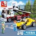 338 шт. SLuban 0879 городских инженерных серии прицеп для легковых автомобилей в собранном виде модель мальчик собранные строительные блоки игруш...
