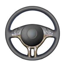 Capa de volante de couro artificial do plutônio preto costurado à mão para bmw e46 318i 325i 330ci e39 x5 e53 z3 e36/7 e36/8 (coupe)