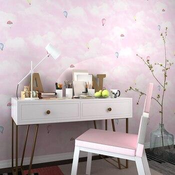 Nordic children's room wall paper hot air balloon cartoon boy girl princess pink bedroom non-woven wallpaper TV background цена 2017