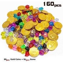 цена 160pcs Plastic Pirate Coins Colored Gems Pirate Treasure Hunt Playset Toys Pirate Party Favors For Kids Birthday Party Decor онлайн в 2017 году