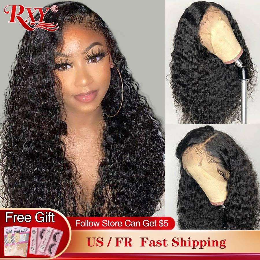 Encaracolado peruca de cabelo humano frente do laço perucas de cabelo humano 360 cabelo humano laço frontal perucas para preto rxy remy onda profunda peruca fechamento