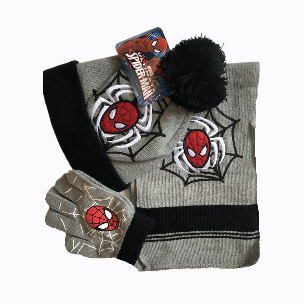 Baby Boys Children Spiderman Hats Glove Scarf Set Cartoon Winter Knitted Caps Christmas New Year Gift